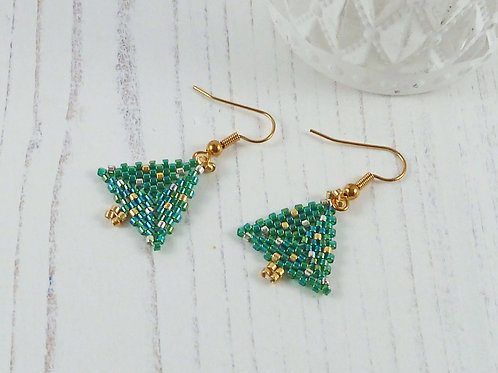 Green and Gold Christmas Tree Earrings