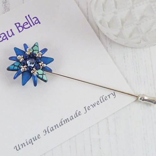 Spiky Blue Beaded Flower Brooch Pin