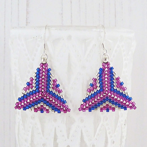Pink and Blue Patterned Triangle Dangle Earrings