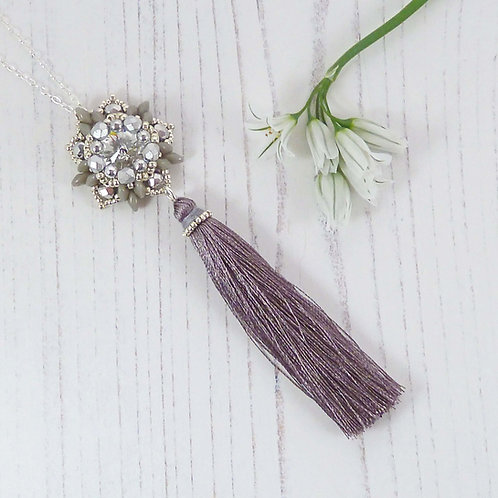 Long Silver and Grey Silk Tassel Necklace with Handmade Bead Flower
