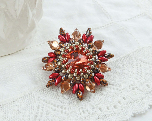 Vintage Look Bright Bright Red Flower Brooch with Swarovski Crystal Stone
