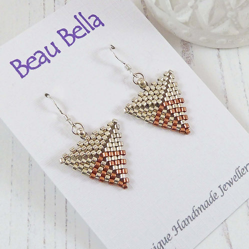 Silver and Copper Triangle Dangle Earrings, handmade with seed beads