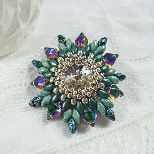 Large Sparkly Green Flower Style Brooch with Swarovski Crystal
