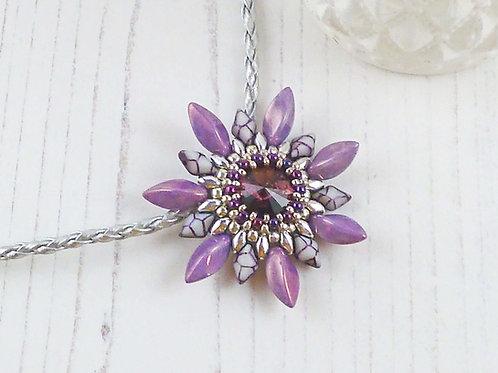 Purple Passion Flower Necklace with Swarovski Crystal