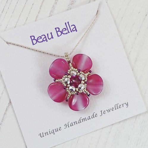 Pink Poppy Necklace, Fuchsia Flower Necklace