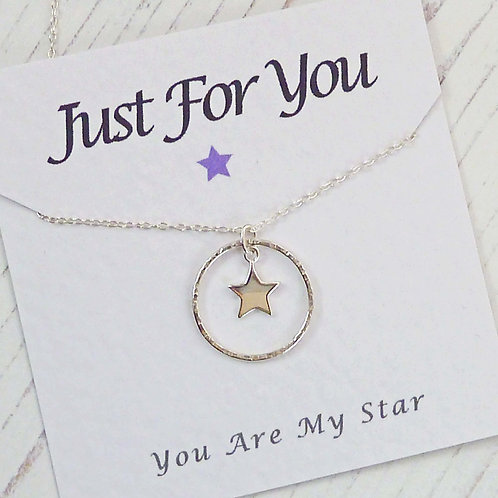 Sterling Silver Star and Eternity Circle Necklace with Just For You Message Card