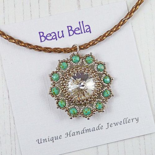 Antique Style Green & Silver Flower Necklace, with Swarovski Rivoli