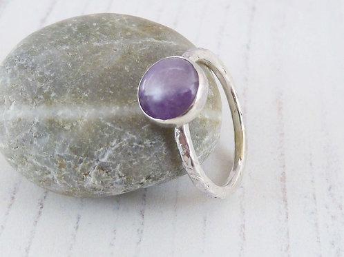 Lavender Amethyst Gemstone Silver Ring