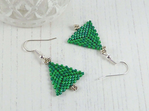 Stylish Green Christmas Tree Earrings