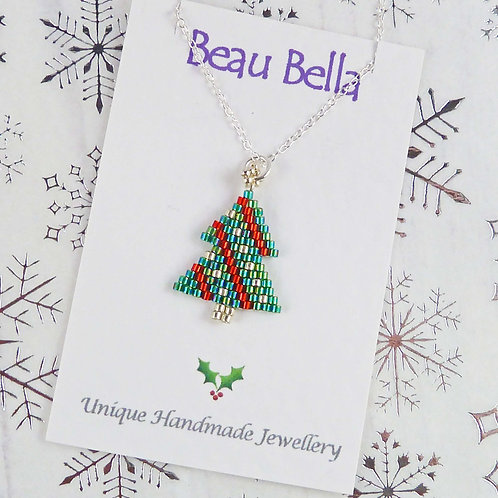 Green, Red and Silver Christmas Tree Necklace