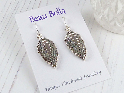 Grey & Silver 'Russian Leaf' Long Dangle Earrings, Hand-stitched with Seed Beads