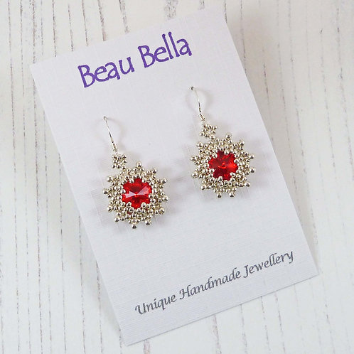 Red Star Earrings with Swarovski Rivoli