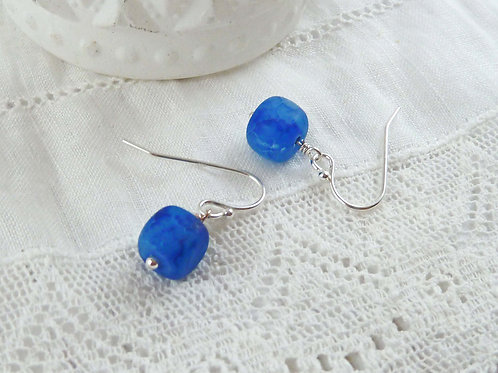 Blue Fire Agate Cubes and Sterling Silver Dangle Earrings