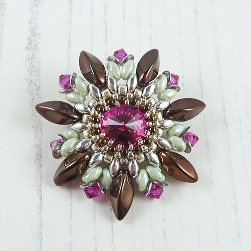 Brown, Pink & Green Flower Brooch with Swarovski Crystal