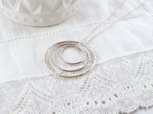 Triple Circle Eternity Necklace - Three Silver Circles