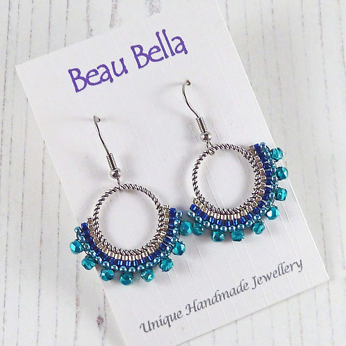 Turquoise and Blue Hooped Fan Dangle Earrings
