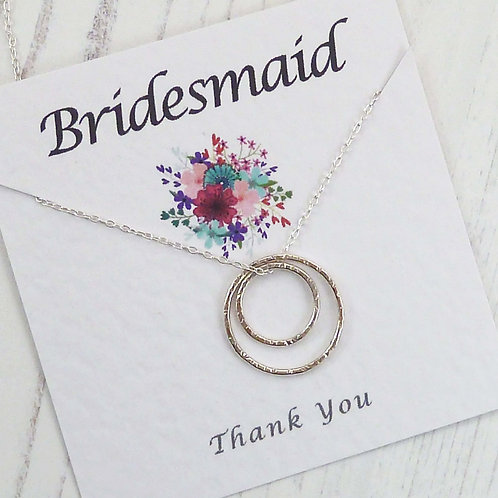 Silver Circle Eternity Necklace For a Bridesmaid, with Special Message Car
