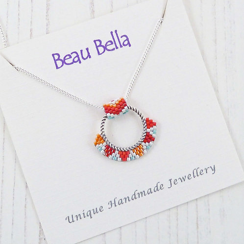 Red and Orange Beaded Hoop Necklace