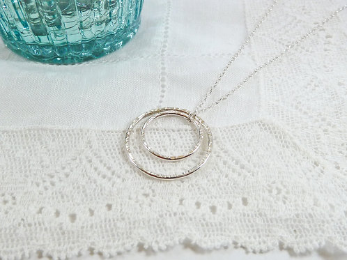 Textured Silver Circle Eternity Necklace, with Two Circles