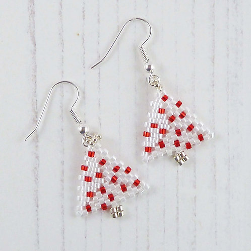 Christmas Tree Earrings in Red and White