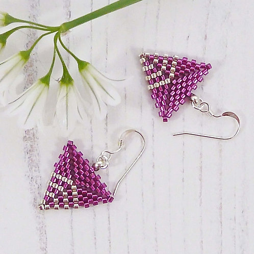 Raspberry Pink and Silver Triangle Shaped Earrings, handmade with seed beads