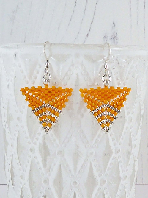 Bright Yellow Triangle Dangle Earrings