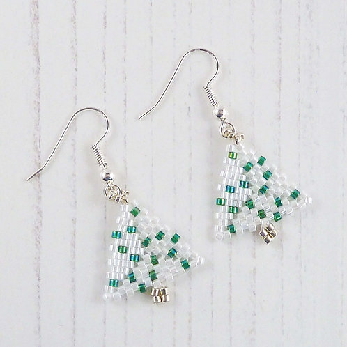 Christmas Tree Earrings in White and Green