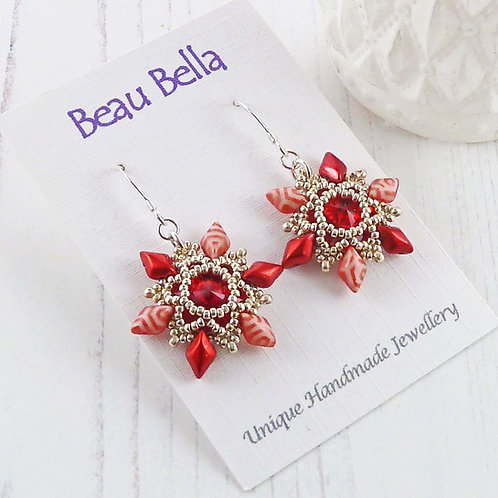 Sparkling Red Flower Dangle Earrings with Swarovski Crystals