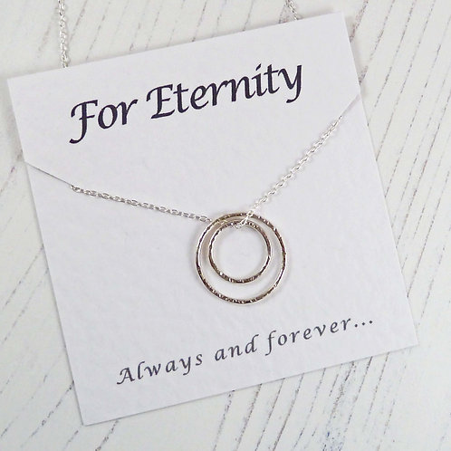 For Eternity Silver Circles Necklace with Special Message Car