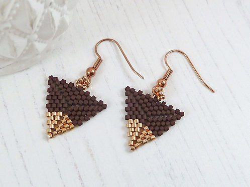 Brown and Rose Gold Dipped Triangle Earrings