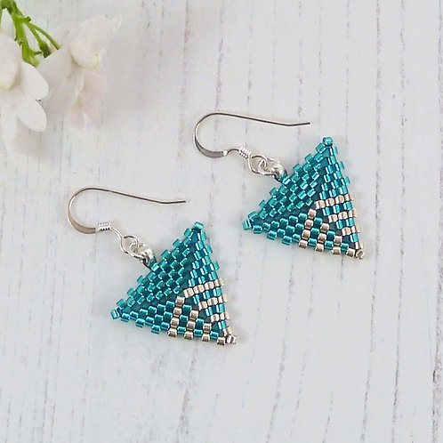Teal Green and Silver Dangle Triangle Earrings