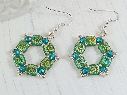 Bright Green Hexagon Geometric Earrings, with Shimmering Crystals