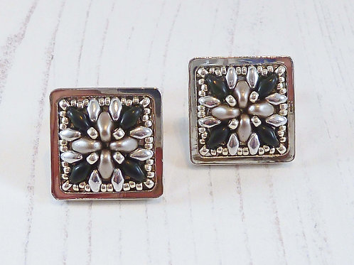 Beige & Black Square Shape Cuff Links