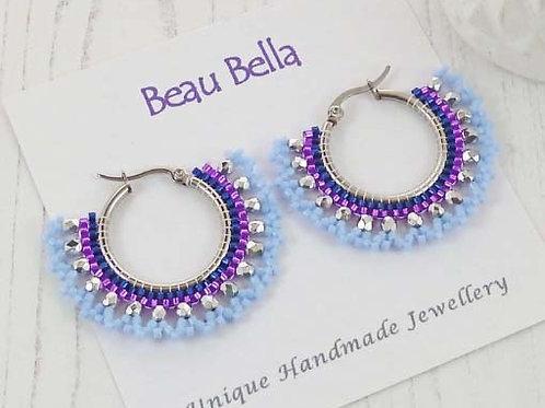 Blue and Purple Beaded Hoop Earrings