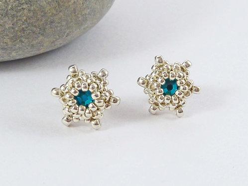 Blue Green Star Shape Crystal Stud Earrings