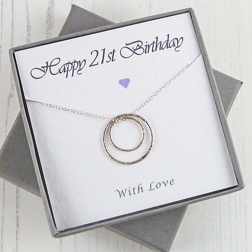 Silver Eternity Circle Necklace for 21st Birthday