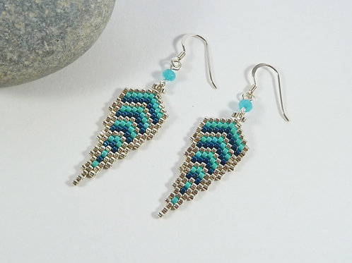 Turquoise and Silver Feather Style Earrings