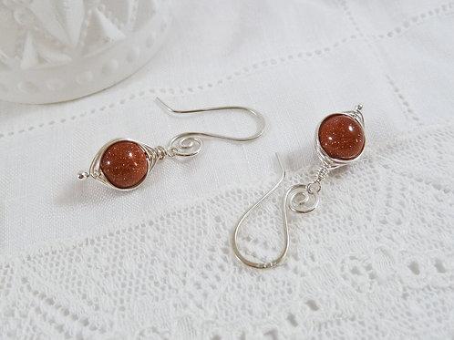 Red Goldstone Herringbone Earrings
