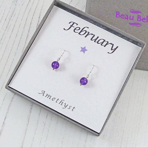 Dainty Amethyst Gemstone Earrings for a February Birthday