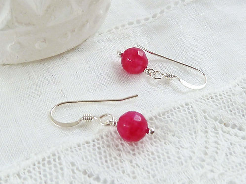 Red Quartz Gemstone and Sterling Silver Dangle Earrings