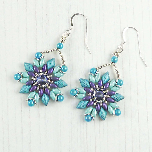 Turquoise and Purple Flower Dangle Earrings with Swarovski Crystal Stones