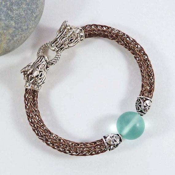 Viking knit dragon bracelet