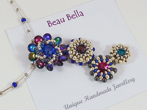 Statement Flower Necklace in Blue & Silver with Swarovski Crystals
