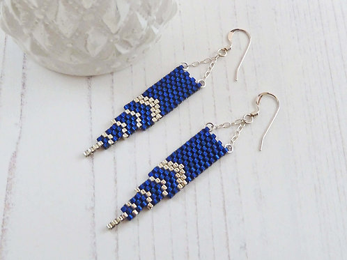 Long Blue & Silver Art Deco Dangle Earrings