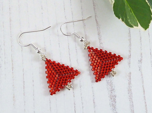 Shimmering Bright Red Christmas Tree Earrings