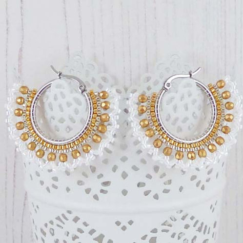Gold, Silver and White Beaded Hoop Earrings