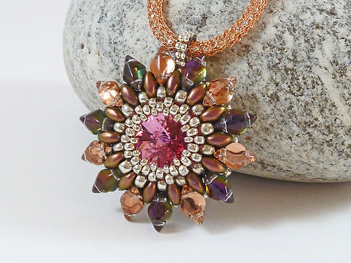 Glistening Lumiscent Flower Necklace in Copper Tones