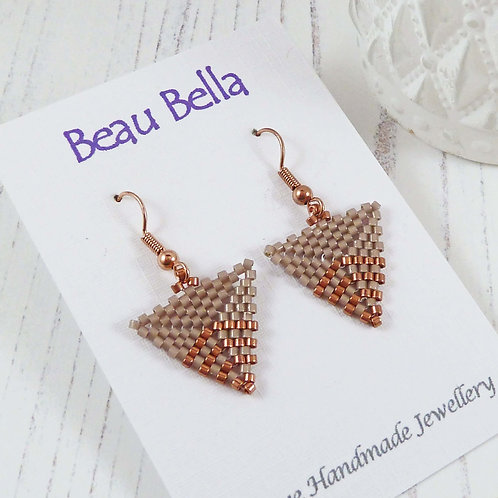 Rose Gold and Taupe Triangle Earrings