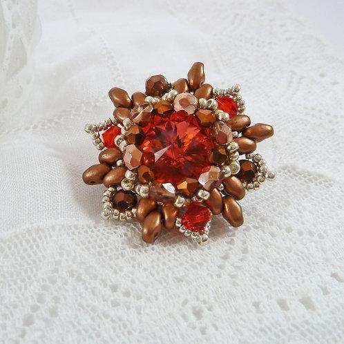 Padparadscha Orange Flower Brooch with Swarovski Rivoli