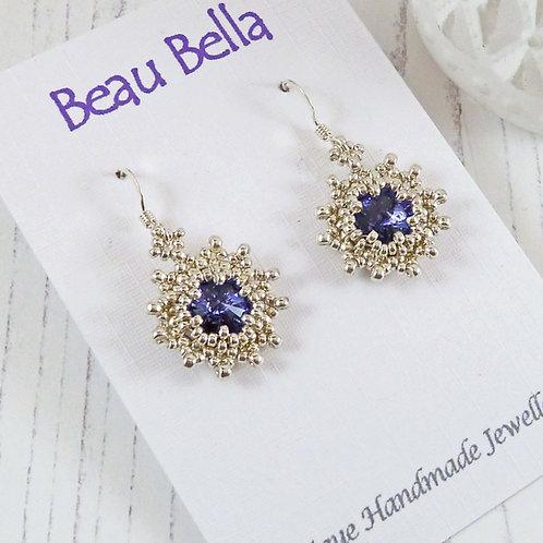 Tanzanite Star Earrings with Swarovski Rivoli Crystals